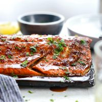 Grilled Whiskey Glazed Cedar Plank Salmon