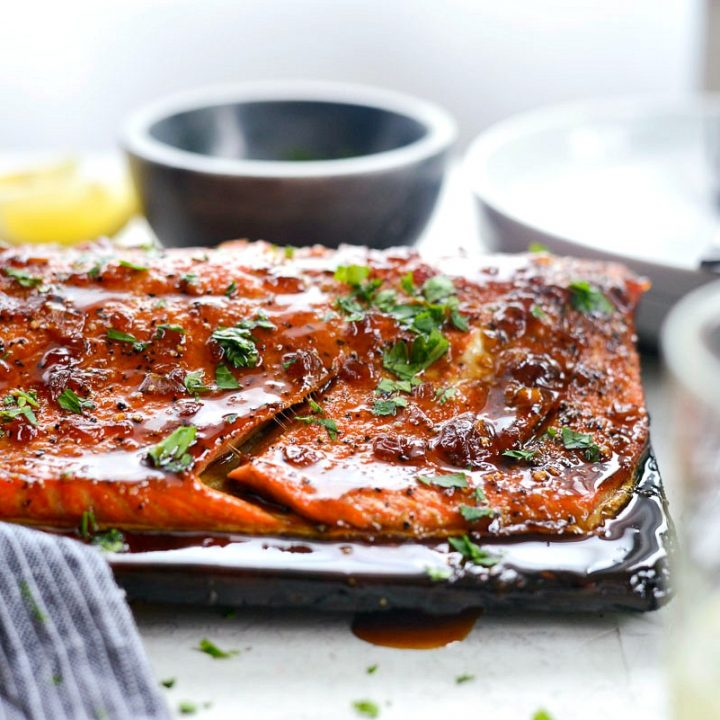 Grilled Whiskey Glazed Cedar Plank Salmon l SimplyScratch.com #grilled #salmon #cedarplank #whiskeyglaze #seafood #recipes