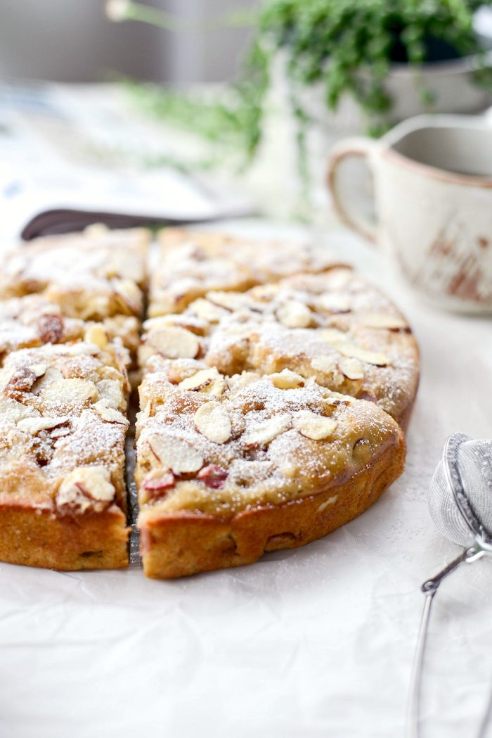 Rhubarb Almond Cake l SimplyScratch.com #rhubarb #almond #cake #summer #dessert #homemade