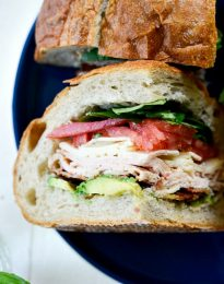 California Club Loaf Sandwich l SimplyScratch.com #summer #sandwich #california #avocado #bacon #easylunch