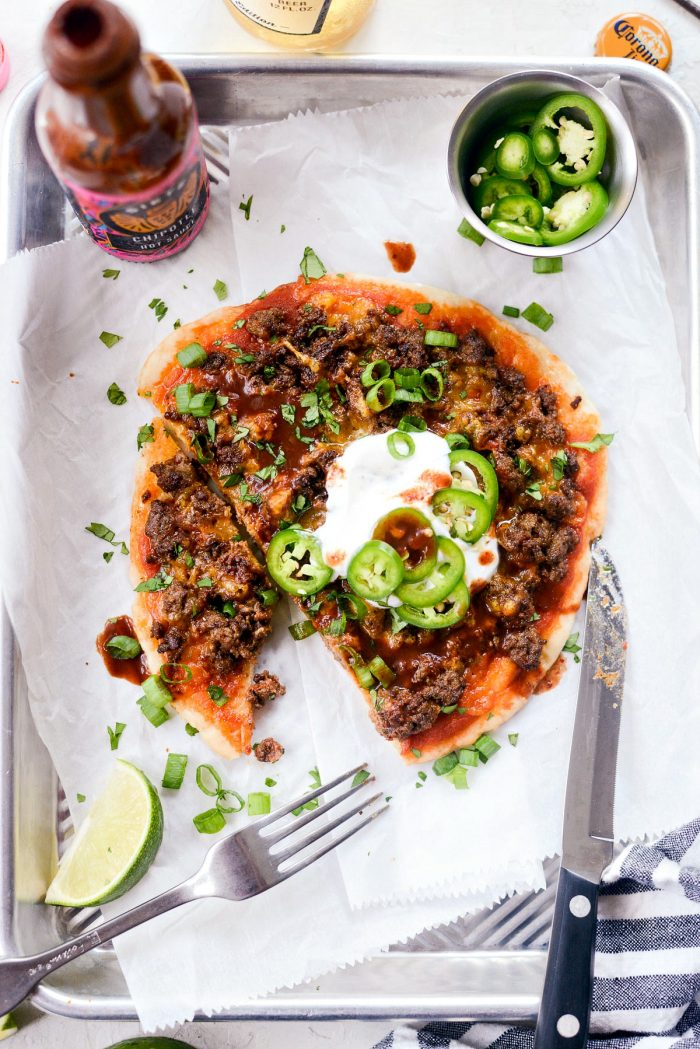 Fiestadas l SimplyScratch.com #lunchroom #copycat #mexicanpizza #fiestadas #fromscratch #homemade #tacopizza #beef #easy