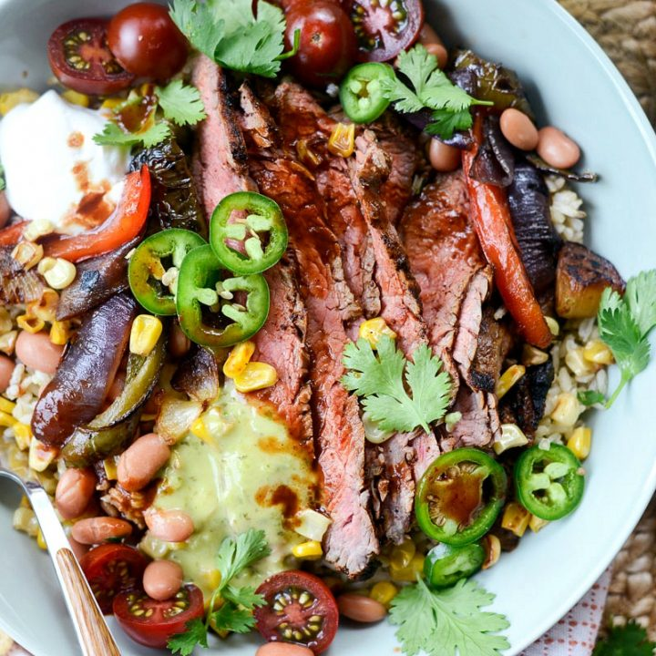Grilled Chipotle Steak Fajita Rice Bowl l SimplyScratch.com #chipotle #grilledsteak #grilled #steak #fajita #rice #bowl #dinner #easy #recipe