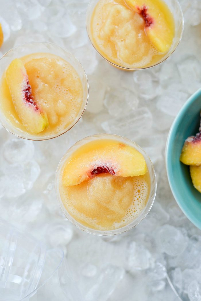 Peach Frosé l SimplyScratch.com #peach #rosé #frosé #summer #adultbeverage #drink #wine #slushie