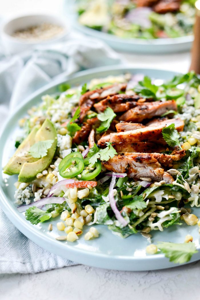 Summer Coleslaw BBQ Chicken Salad l SimplyScratch.com #summer #bbq #chicken #salad #coleslaw #cabbage