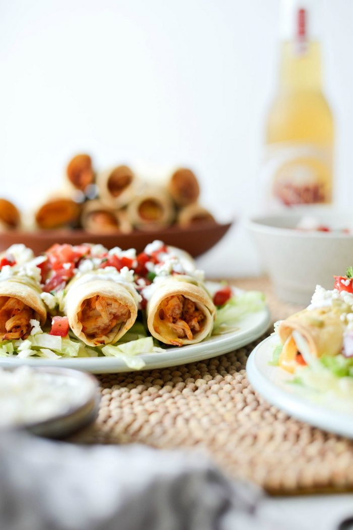Air Fryer Salsa Chicken Taquitos l SimplyScratch.com #chicken #salsa #airfryer #recipe #toquitos #airfried #easy #dinner