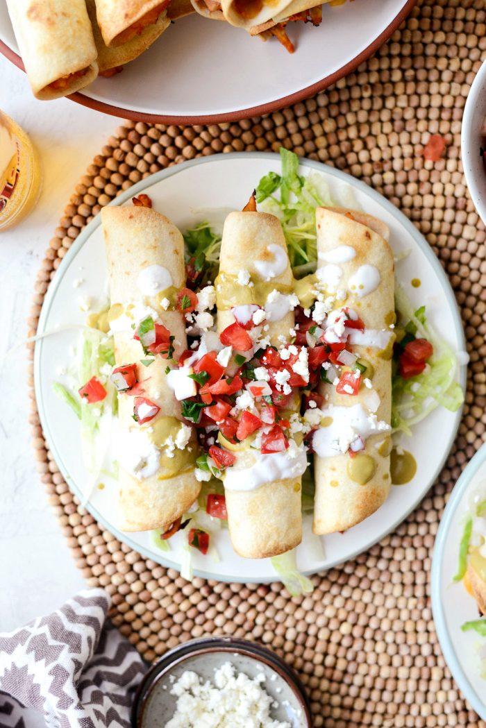 Air Fryer Salsa Chicken Taquitos l SimplyScratch.com #chicken #salsa #airfryer #recipe #toquitos #airfried #easy #dinner