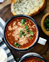 Beef Ancini de Pepe Soup l SimplyScratch.com #beef #ancinidepepe #pasta #soup #easy #tomato #simplyscratch