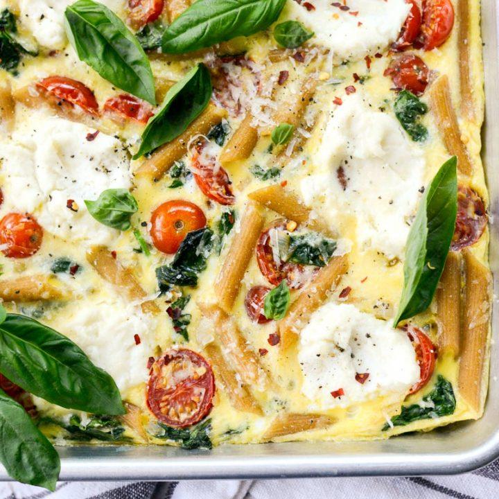 Sheet Pan Spinach Tomato Ricotta Pasta Frittata