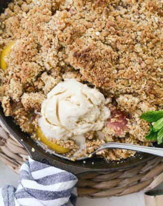 Skillet Peach Rhubarb Crisp l SimplyScratch.com #skillet #peach #rhubarb #crisp #dessert #summer #easy #recipe
