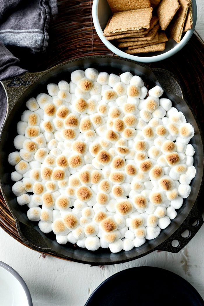 Skillet S'mores Dip l SimplyScratch.com #smores #dip #lazy #dessert #skillet