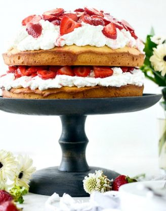 Strawberry Shortcake Cake l SimplyScratch.com #strawberry #shortcake #cake #poundcake #summer #dessert #homemade #fromscratch