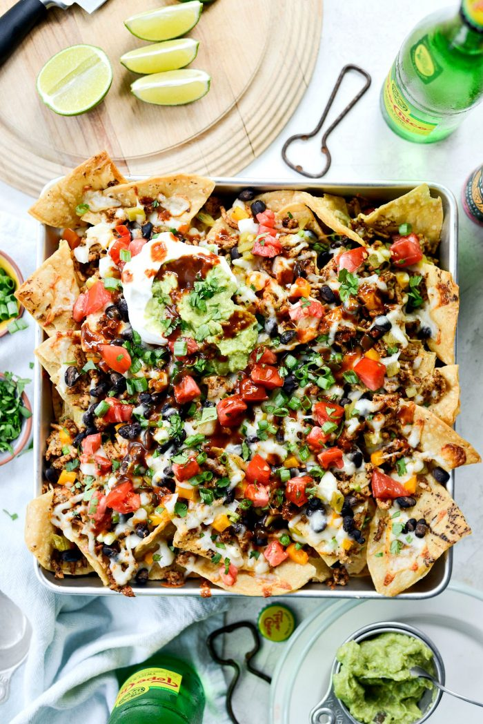 Deep Dish Black Bean Chicken Chorizo Nachos l SimplyScratch.com #blackbean #chicken #chorizo #nachos #easy #gameday #recipe #simplyscratch