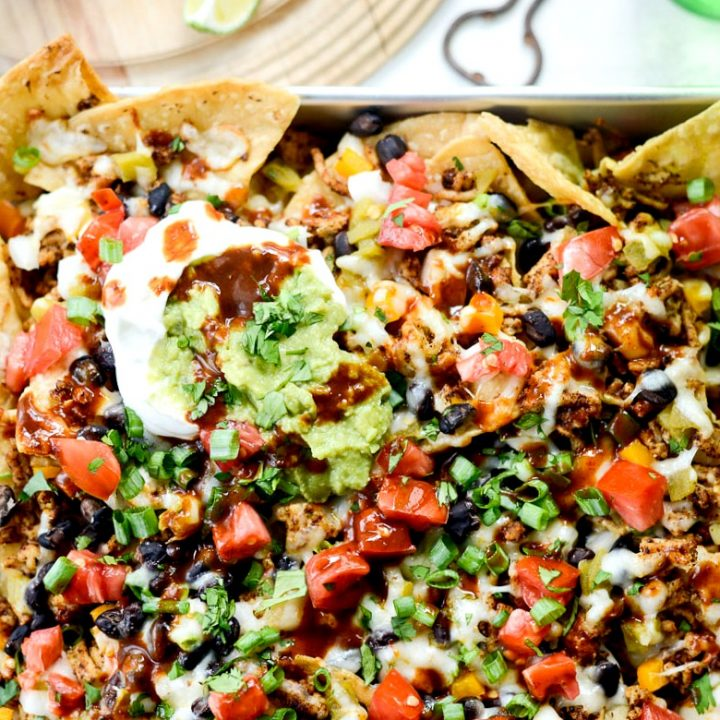 Deep Dish Black Bean Chicken Chorizo Nachos