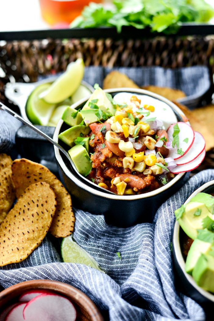 Southwest Three Bean Chicken Chili l SimplyScratch.com #southwest #chicken #chili #beans #lowfat #healthy #easy #simplyscratch
