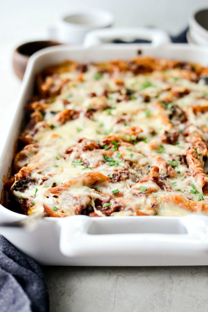 Three Cheese Vegetable Mostaccioli l SimplyScratch.com #vegetable #mostaccioli #pasta #bakedpasta #vegetarian #simplyscratch #homemade