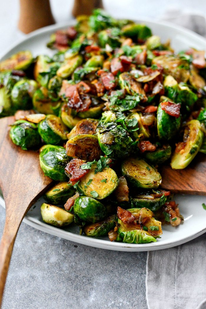 Caramelized Balsamic Glazed Brussels Sprouts l SimplyScratch.com #brussels #sprouts #bacon #sidedish #holiday #easy #recipe #balsamic #thanksgiving