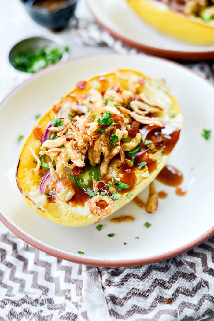 Chicken Bacon Jalapeño Spaghetti Squash l SimplyScratch.com #healthy #chicken #bbqsauce #bacon #jalapeno #stuffed #spaghettisquash #ww #simplyscratch