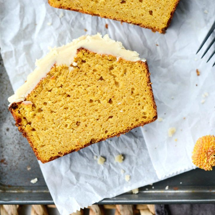 Ginger Pumpkin Bread with Maple Brown Butter Icing