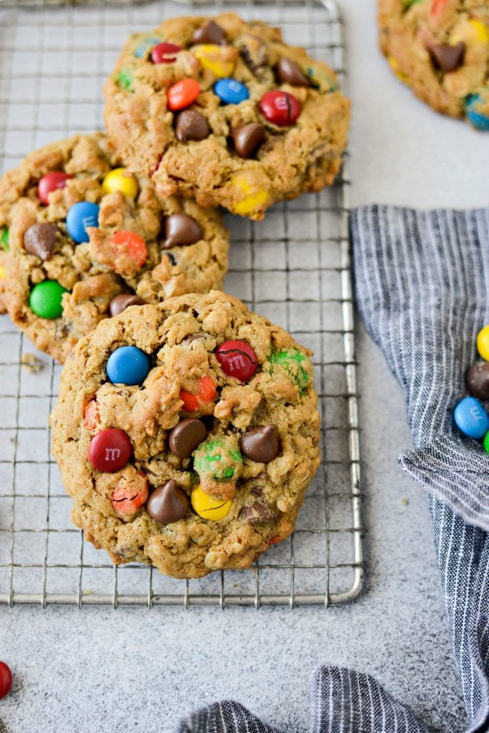 Monster Cookies l SimplyScratch.com #monstercookies #cookies #oatmeal #candy #chocolate #halloween #baking #cookierecipe