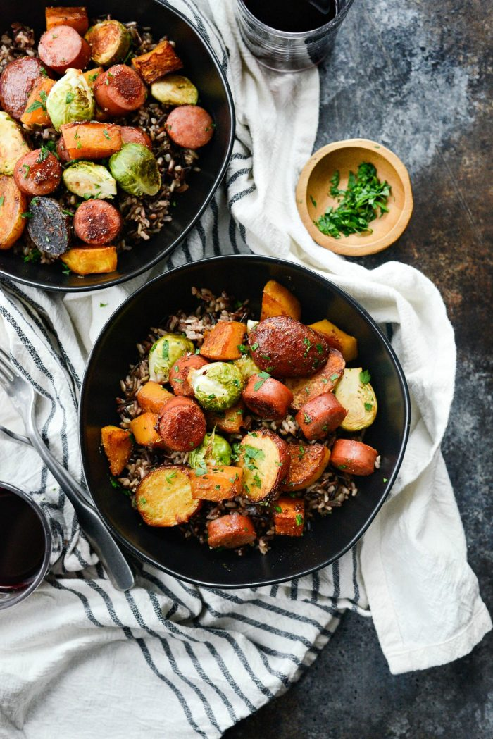 Smoked Sausage and Vegetable Sheet Pan Dinner l SimplyScratch.com #easy #sausage #vegetables #sheetpan #dinner #recipe #simplyscratch #butternutsquash #brusselssprouts