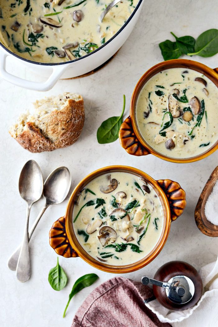 Chicken Forester Soup l SimplyScratch.com #chicken #mushroom #spinach #rice #soup #fromscratch #easy