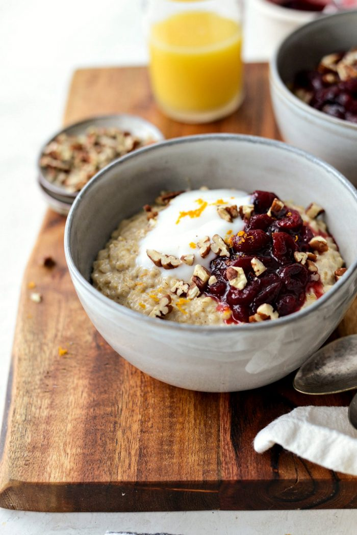 Cranberry Orange Steel Cut Oats l SimplyScratch.com l SimplyScratch.com #breakfast #leftovers #steelcut #oats #recipe #cranberry #orange #leftovercranberryrelish