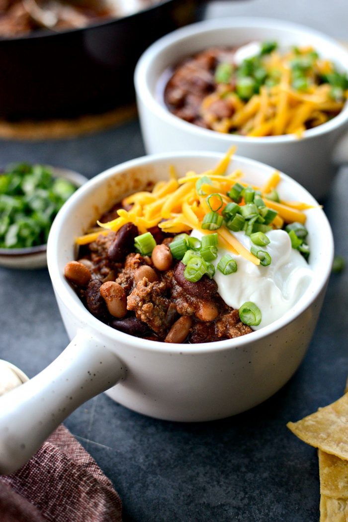 Easy Loaded Chili l SimplyScratch.com #quick #chilirecipe #easy #bestchilirecipe #homemade #chili #beanchili #beefchili #onepotchili
