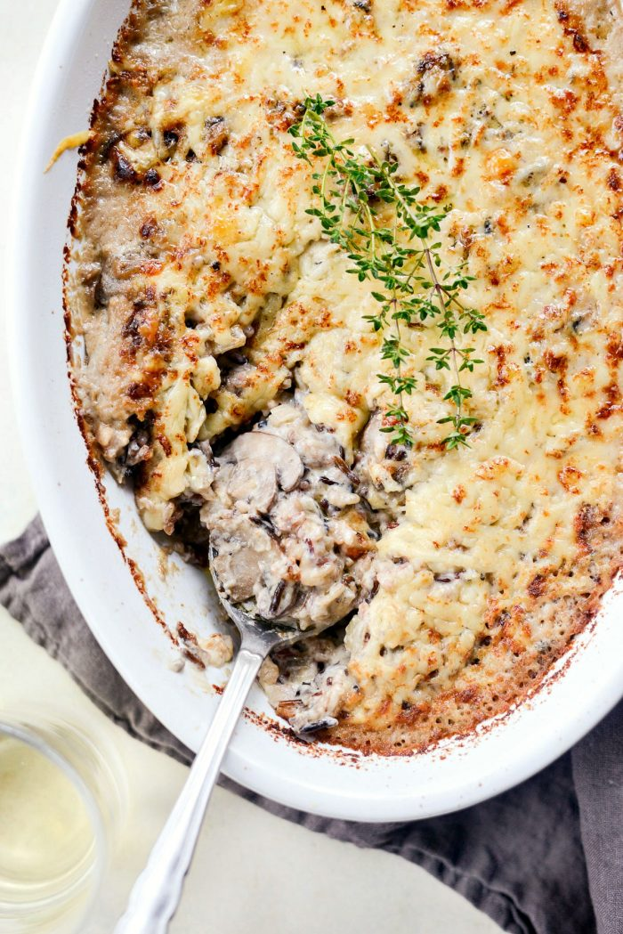 Mushroom Wild Rice Casserole l SimplyScratch.com #easy #homemade #mushroom #wildrice #casserole #nocannedsoup #fromscratch #thanksgiving #holiday #recipe
