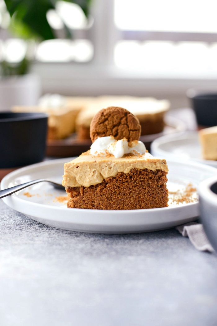 No-Bake Pumpkin Cheesecake with Gingersnap Crust l SimplyScratch.com #homemade #nobake #pumpkin #cheesecake #gingersnap #cookie #crust #thanksgiving #holiday #dessert