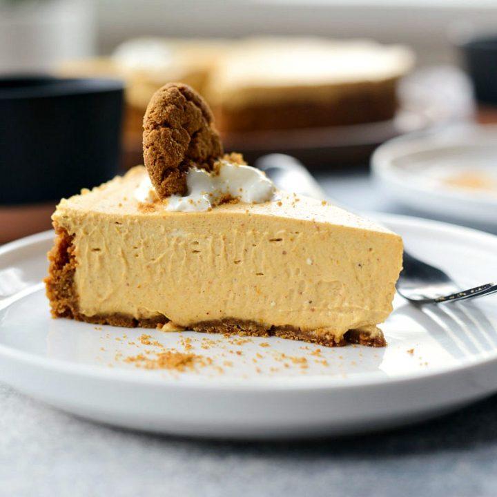 No-Bake Pumpkin Cheesecake with Gingersnap Crust l SimplyScratch.com #homemade #nobake #pumpkin #cheesecake #gingersnap #cookie #crust #thanksgiving #holiday #dessert
