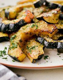 Parmesan Herb Roasted Acorn Squash l SimplyScratch.com #fall #squash #roasted #sidedish #thanksgiving #easy #holiday #recipe
