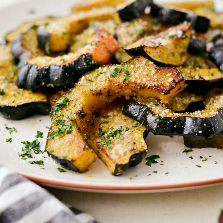 Parmesan Herb Roasted Acorn Squash l SimplyScratch.com #fall #squash #roasted #sidedish #thanksgiving #easy #holiday #recipe