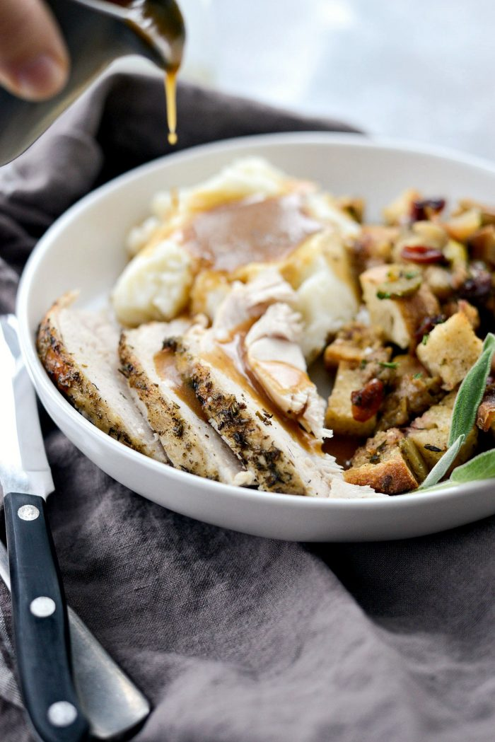 Slow Cooker Turkey Breast l SimplyScratch.com #turkey #slowcooker #thanksgiving #recipe #gravy #turkeybreast #holiday