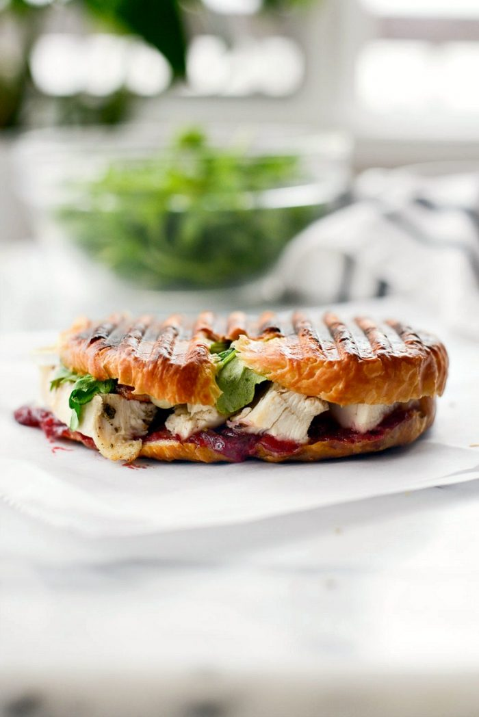 Turkey Cranberry Croissant Panini l SimplyScratch.com #leftover #turkey #recipe #sandwich #panini #cranberry #bacon #thanksgiving #thanksgivinglefoterrecipes