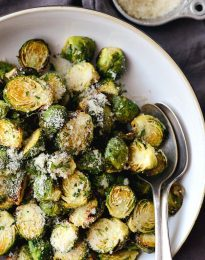 Air Fryer Brussels Sprouts l SimplyScratch.com #sidedish #airfried #airfryer #easy #fast #holiday #brussels #sprouts