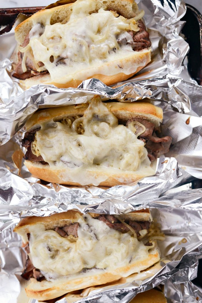 Easy French Dip Sandwiches l SimplyScratch.com #beef #frenchdip #sandwich #quick #easy #gameday #partyfood