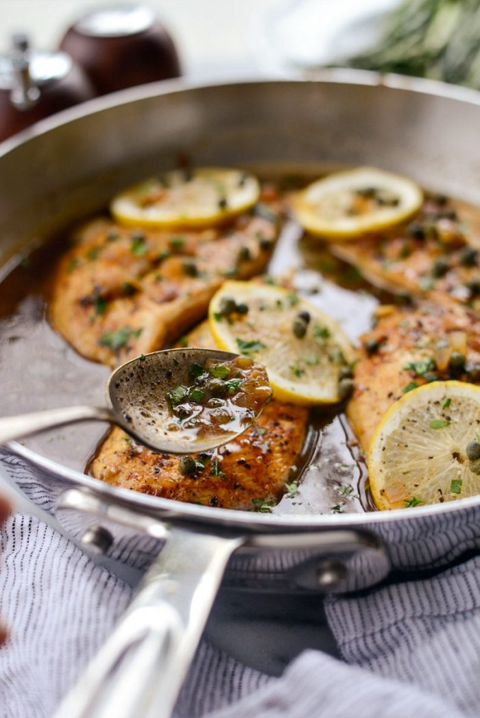 Lighter Chicken Piccata l SimplyScratch.com #healthy #lighter #chicken #piccata #easy #skillet #lemon #caper #sauce #fromscratch