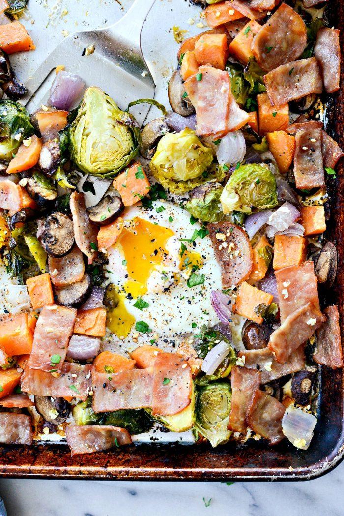 Sheet Pan Breakfast Hash l SimplyScratch.com #easy #sheetpan #breakfast #bacon #eggs #brussels #sprouts #sweetpotato