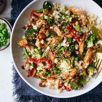Sheet Pan Teriyaki Chicken and Cauliflower Rice l SimplyScratch.com #sheetpan #dinner #chicken #easyrecipe #teriyaki #cauliflowerrice #healthy