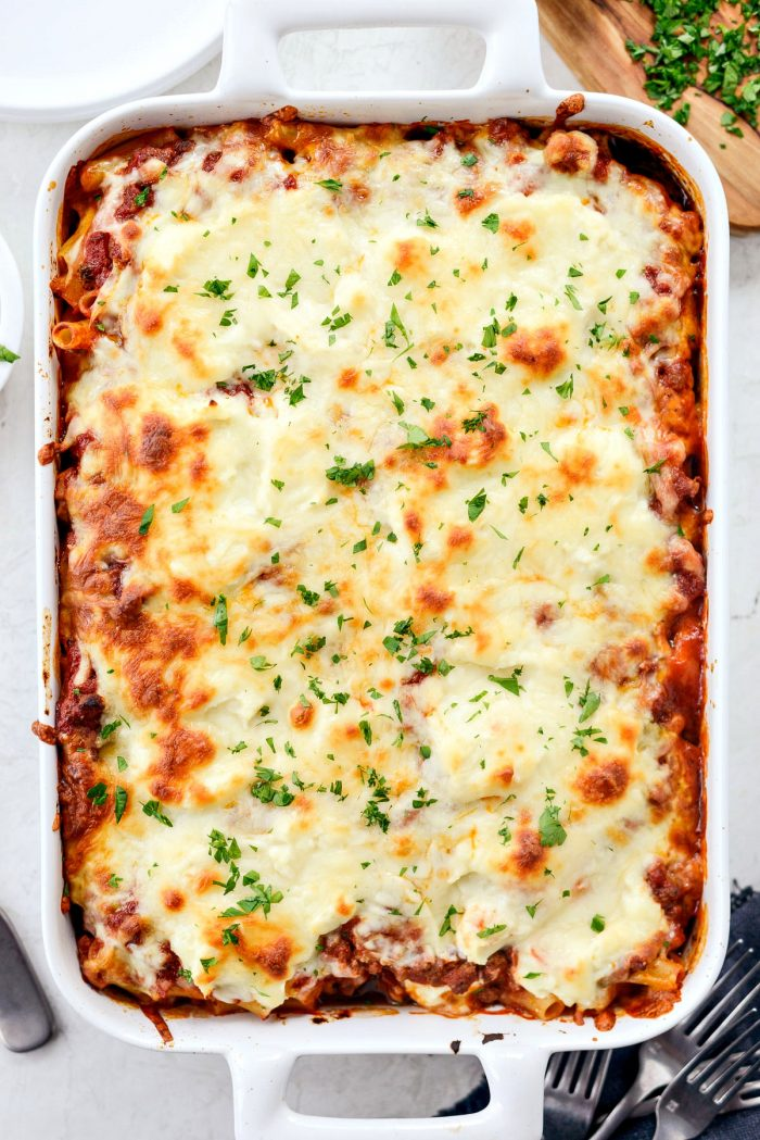 Spicy Italian Sausage Baked Ziti l SimplyScratch.com #pasta #italian #sausage #baked #ziti #holiday