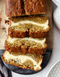 Cheesecake Banana Bread l SimplyScratch.com #cheesecake #bananabread #homemade #easy #fromscratch #banana #quickbread