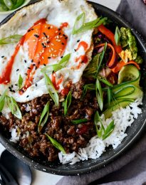 Korean BBQ Beef Bowls l SimplyScratch.com #beef #korean #bbq #bowl #egg #rice