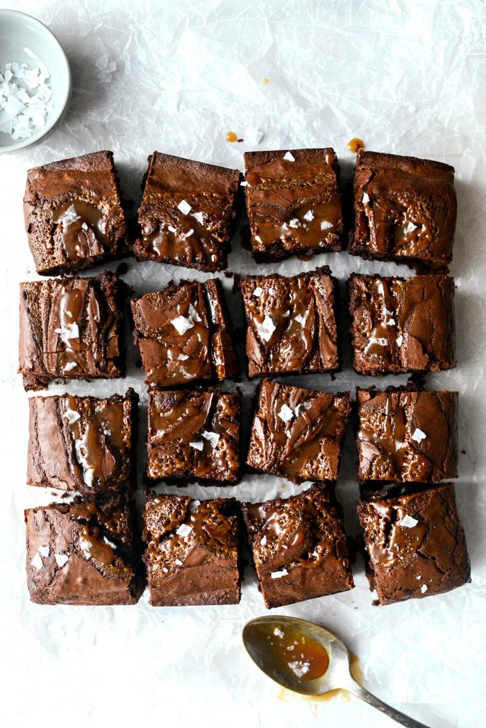 Sea Salt Caramel Espresso Brownies l SimplyScratch.com #seasalt #caramel #espresso #brownies #homemade #fromscratch #chocolate