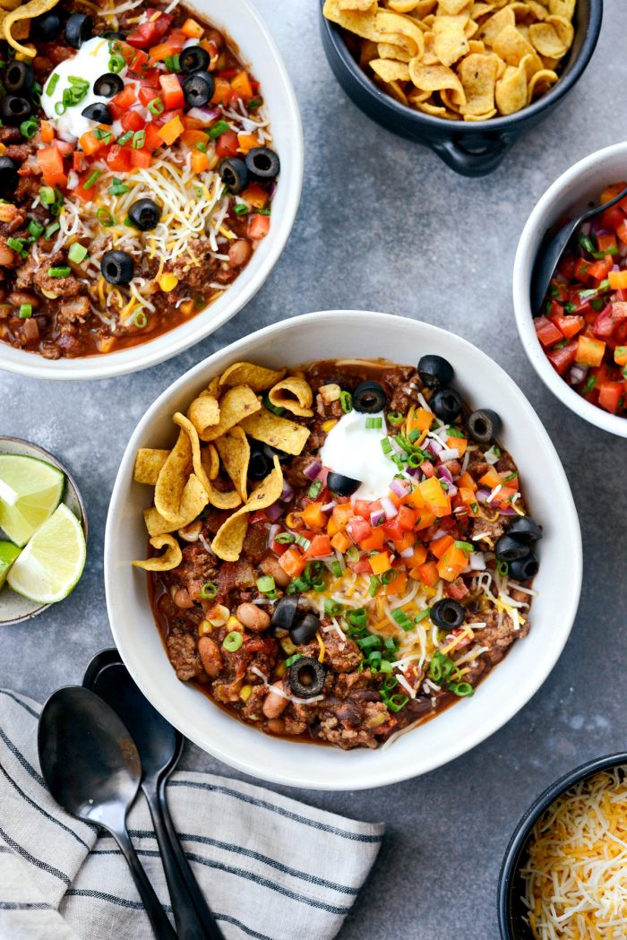 Slow Cooker Taco Chili l SimplyScratch.com #slowcooker #taco #chili #gameday #chilirecipe #tacochili #homemadechili