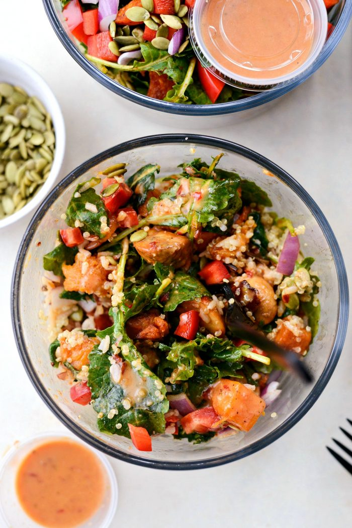 Winter Butternut and Kale Grain Bowls (Meal Prep!) l SimplyScratch.com #mealprep #winter #healthy #grainbowls #butternutsquash #kale