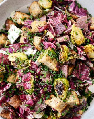 Corned Beef and Rye Panzanella l SimplyScratch.com #leftover #cornedbeef #ryebread #panzanella #brusselssprouts #salad #breadsalad #radicchio
