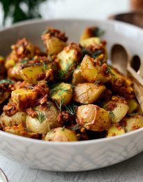 Sun-dried Tomato Roasted Breakfast Potatoes l SimplyScratch.com #sundried #tomato #breakfast #potatoes #roasted #sidedish #yukongold #brunch