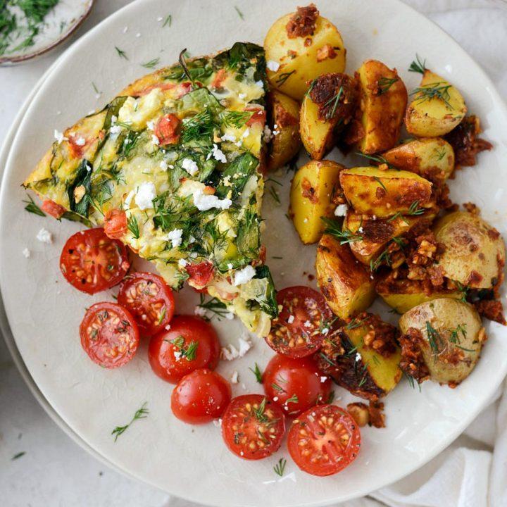 Tomato Spinach and Feta Crustless Quiche