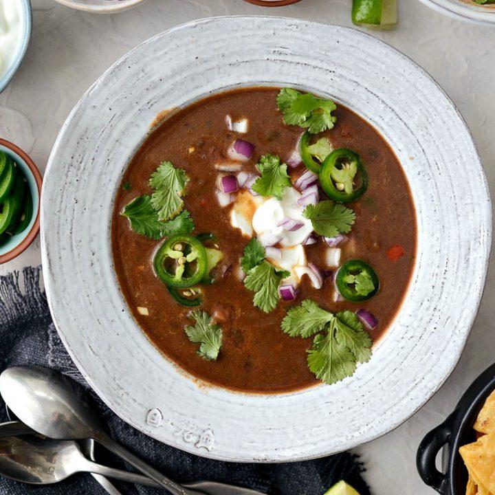 Vegetarian Black Bean Soup l SimplyScratch.com #vegetarian #healthy #blackbean #soup #light #beansoup #homemade #fromscratch