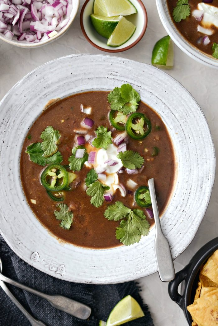 Vegetarian Black Bean Soup l SimplyScratch.com #vegetarian #healthy #blackbean #soup #light #beansoup #homemade #fromscratch